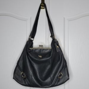 Emma Fox large black pebble leather tote purse bag